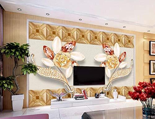 Tapete 3D Fototapete Schmuckkunst-Blumenstreifen Tapeten 3D Effekt Vliestapete Moderne Wanddeko