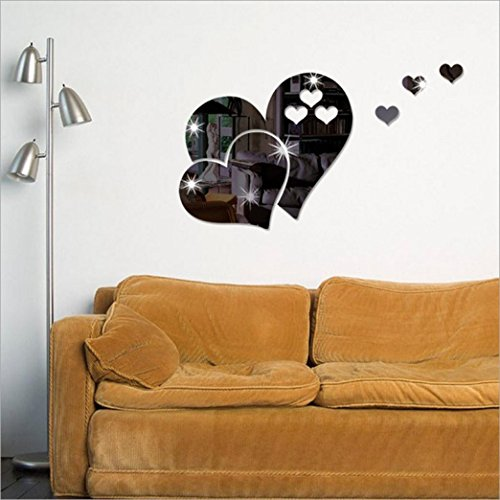Indexp 3D Removable Mirror Floral Wall Sticker Vinyl Art Home Room Decors Decals (Love Hearts/ Black)