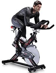 Sportstech Vélo d'appartement ergomètre SX400 avec commande par application Smartphone + Google Street View, poids d'inertie 22 KG, supports pour bras, cardiofréquencemètre, silencieux, 150 kg max.
