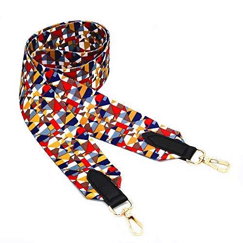 m-w 5,1cm breit lang Handtasche Portemonnaie Gurt Gitarre Stil Multicolor Canvas Ersatz Tragegurt Schulterriemen, mit 2Metall Schnallen Style2 (43.5