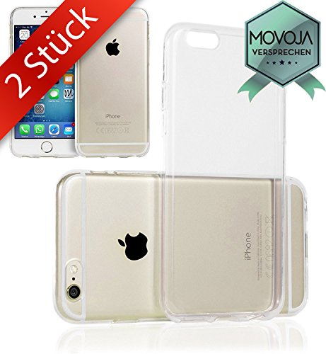 Movoja 2 STÜCK iPhone 6 6S Hülle TPU Case Schutzhülle Set Material | PERFEKTE Passform | 2X Silikon Crystal Case Transparent Durchsichtig für Apple i-Phone-6 iPhone 6 Apple I-phones