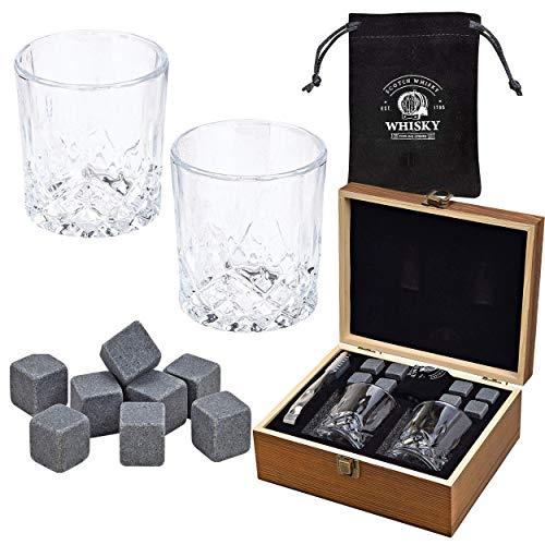 WOMA 8 Whisky Steine mit 2 Whiskey Gläsern, Zange und Holz Geschenkbox - Whiskeysteine aus natürlichem Basalt - Eiswürfel Wiederverwendbar