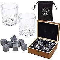 WOMA 8 Whisky Steine mit 2 Whiskey Gläsern, Zange und Holz Geschenkbox - Whiskeysteine aus natürlichem Speckstein - Eiswürfel Wiederverwendbar