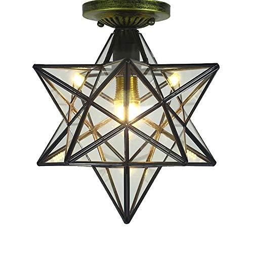 Industrielle Vintage Sterne glas Deckenleuchte Φ 30cm E27 für Wohnzimmer Esszimmer Schlafzimmer Küche Retro Vintage Deckenlampe Leuchte