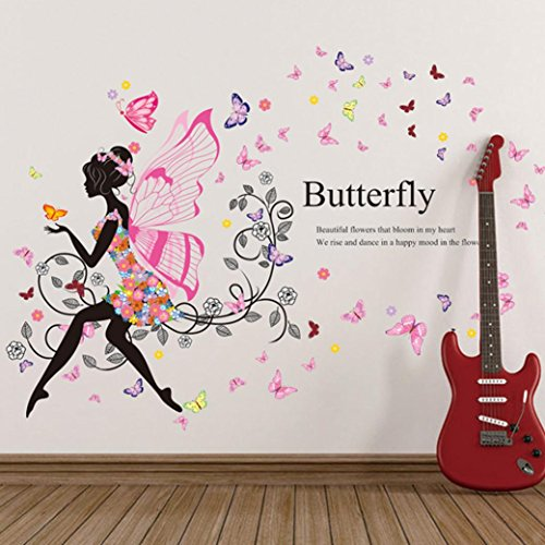 Indexp Sweet Romance Angel Butterfly Flower Fairy Princess Harmony Bedroom Living Room Walls Stickers 23 62x35 43inches Buy Online In Aruba At Aruba Desertcart Com Productid 51018564