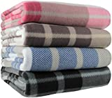 Ideal Textiles, Tartan Check Polar Fleece, Throw Blanket, Suitable for Chair or Bed, Machine Washable, 125cm x 150cm (Natural)