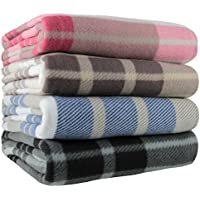 Ideal Textiles, Tartan Check Polar Fleece, Throw Blanket, Suitable for Chair or Bed, Machine Washable, 125cm x 150cm (Blue)