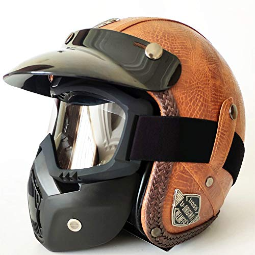 DKZK Jethelme, Half Face JetHelm, DOT Zertifiziert Jethelm für Männer/Frauen Brillenträger Harley Lokomotivhelm Chopper Prince Helm Jet Cruiser Halbhelm Vintage Helm