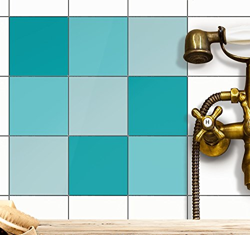 creatisto Deko-Folie Fliesen Fliesenmuster Fliesensticker | Fliesen-Folie Sticker Aufkleber Klebefolie Fliesen Badezimmer deko Küche Fliesentattoo | 20x20 cm - Motiv Türkistöne - 72 Stück
