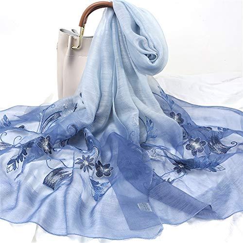 Yuquanxin Frauen Exquisite Stickerei bestickte Seide Schal Blumen Süß und niedlich (Color : Blue, Size : 175cm) -