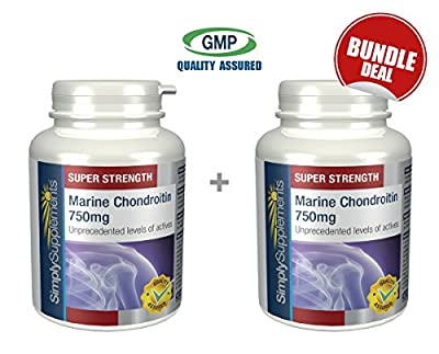 Marine Chondroitin 750mg 100% Pure   Perfect Partner to Glucosamine   Bundle Deal 60+60 Capsules (120 in total)   100% money back guarantee   Manufactured in the UK from Simply Supplements