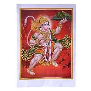 Poster Hanuman 50 x 70 cm Brillant vert doré Inde Accessoire Hindouisme Décoration Maison