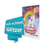 Einhorn 8 Stk Geburtstag einladungskarten (GLITZERND), Einladungskarten Kindergeburtstag Pferd Party, Kinder Geburtstag Einladung Pferdefreunde Mädchen mit Glitzereffekt, inklusive Umschläge