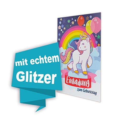 Einhorn 8 STK Geburtstag einladungskarten (GLITZERND) , Einladungskarten Kindergeburtstag Pferd Party, Kinder Geburtstag Einladung Pferdefreunde Mädchen mit Glitzereffekt, inklusive Umschläge