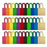 FEPITO 35 Paquet Cadeau Sacs Non-tissé Parti Faveur Sacs Sacs De Bonbons avec Poignées pour Enfants Fête D'anniversaire 8 * 8 pouces, 11 Couleurs