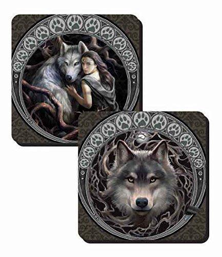 Anne Stokes Set von 2?Untersetzer???W?lfe Soul Bond und Displayschutzfolie Wolf Coaster Set