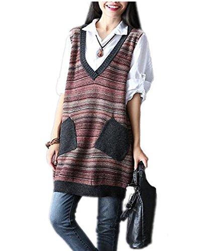 Mcdslrgo - Pull sans manche - Femme multicolore Multicoloured taille unique red