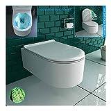 Alpenberger Rimless Hänge-WC aus robuster Keramik mit Befestigungselemente inkl. WC-Deckel mit Befestigungssatz   Spülrandloses Wand-WC Platzsparendes & Zeitloses Design   passend zu GEBERIT