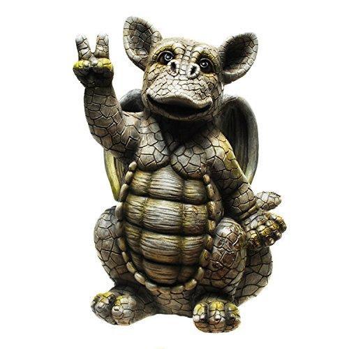 Drache-Drachen-(D7) Murmeltier Erdmännchen Gartenzwerg Gartenfigur Tierfigur NEU Wetterfest Gartenzwerg Deko Polystone Reptil Fantasy Krokodile