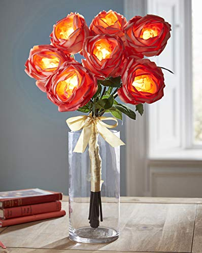 LED Glow Blossom Collection Rose Bouquet Coral Real Touch Künstliche Blumen -