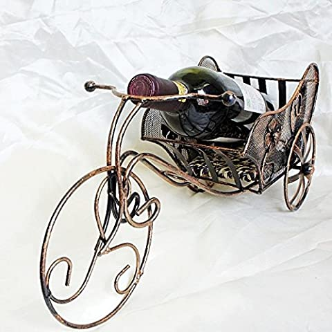 Wkaijc Trois Rondes Ancient Chariot Iron Stainless Steel Creative Fashion Personnalité Ornements Simples Red Wine Rack