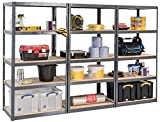 Pack of 3 Extra Deep STORALEX Garage Shelving Racking Units – UK's Bestselling Garage Storage Shelves - 600mm Deep Version - 200kg Per Shelf (Evenly Distributed) - 5 Tier Shelf Unit - Metal & MDF Boltless Assembly System