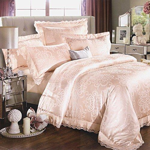 ZHAS 400 TC im Europäischen Stil 100% Baumwolle/reine Baumwolle geometrische Muster steppdecke Set 4 Stück (1 Bettbezüge 1 Bettlaken 2 Kissenbezüge) - eine Königin 1.