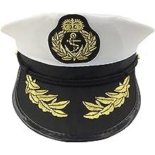 Bianco berretto da marinaio con motivi blu ancora paillettes. Adulti taglia  unica. wicked 6820feed5309