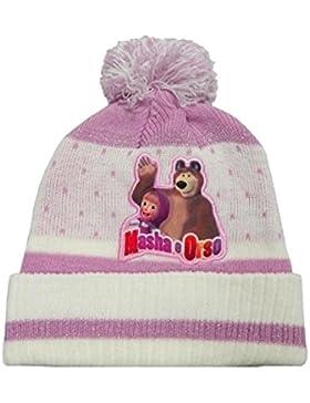 Masha e Orso cappello cuffia invernale con pompon Bambina taglia unica da 2-6 anni