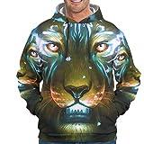 O1FHW-8 - Sudadera para Hombre y Mujer, diseño de Tigre y león con Logo de Animales, Color Blanco 2XL