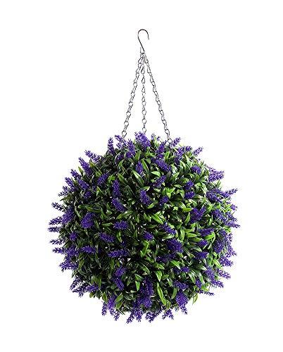 2 Sfere Artificiali Del Topiary 38Cm Piante Di Plastica Palla Dell'erba, Lavanda Foglia Lunga Topiaria Erba Palle Di Fiore ** UV Dissolvenza Protetta **, Ornamento Di Nozze E Decorazioni Per La Casa