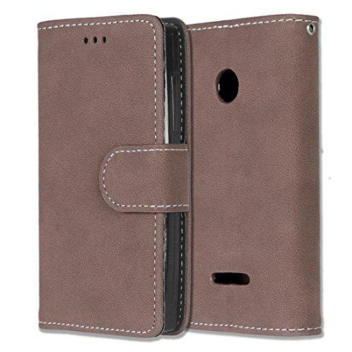 Microsoft Lumia 435 Hülle, Chreey Matt Leder Tasche Retro Handyhülle Magnet Flip Case mit Kartenfach Geldbörse Schutzhülle Etui [Braun]