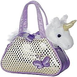 Fancy Pals - Unicornio de peluche, 20 cm, color blanco y lila (Aurora World 32600)