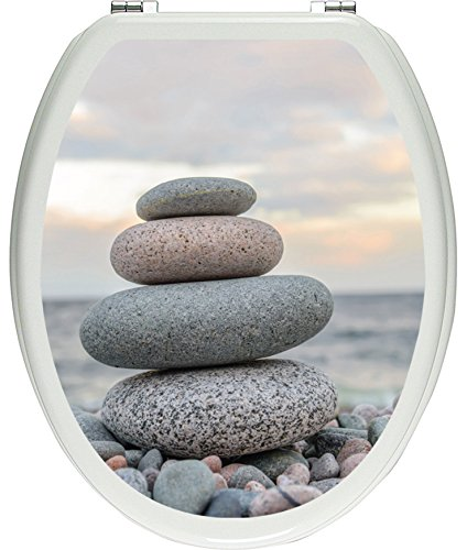 Pixxprint Steinturm am Strand als Toilettendeckel Aufkleber, WC, Klodeckel-Maße: 32x40 cm, Gläzendes Material Toilettendeckelaufkleber, Vinyl, bunt, 40 x 32 x 0.02 cm