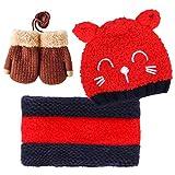 Bearbro Bambino Cappello Inverno, Infantile Invernale del Bambino ha Lavorato a Maglia Il Cappello con la Sciarpa Guanti 3 Pezzi Bebè Maschietto Ragazza (Rosso)