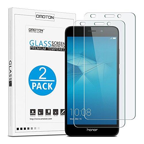 [2 Pièces] Huawei Honor 5C (5.2 pouce) Film Protection D'écran Verre Trempé (0,26mm HD ) OMOTON Protecteur Ecran