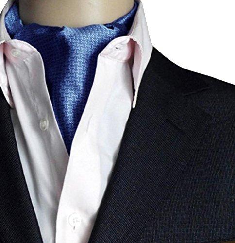 NiSeng Herren Jacquard Ascot Elegent Necktie Ascotkrawatte Paisley Krawatte Cravat Krawatten Accessoires für Festliche Veranstaltungen Dunkelblau