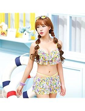 Falda dividida en traje de baño estilo _ en traje de baño estilo falda dividida, la serie amarilla L