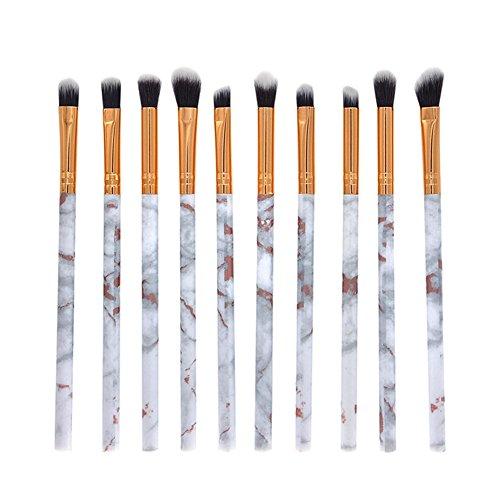 Gespout 10PCS Pinceau de Maquillage Professionnel pour Yeux Gris et Or Nylon Poignée en Plastique Fond de Teint Poudre Blush Différents Styles