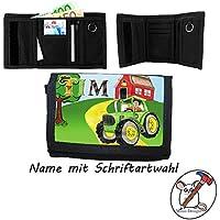 Kinder Geldbörse mit Name / Traktor Geldbeutel / Klettverschluss / Personalisiert / Schriftart Wählbar