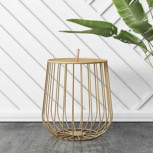 Beistelltisch Wohnzimmertisch,Telefontisch,Moderne Metall Sofa Tisch Offenen Ablagekorb SchweißProzess Langlebig Gold-Small