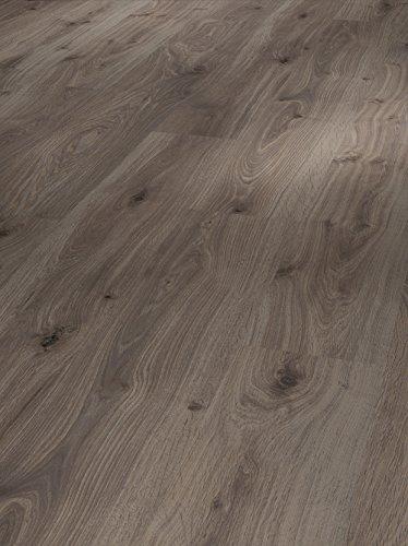 Parador Klick Laminat Bodenbelag Basic 400 Eiche geräuchert weiss geölt Landhausdiele Seidenmatte Struktur 2,493m² hochwertige Holzoptik dunkel grau, 8 mm, einfache Verlegung
