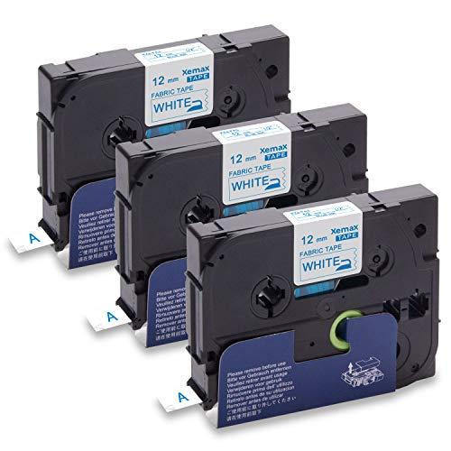 Xemax 3-Pack Compatibile P-touch Tze-FA3 Tz-FA3 12mm x 3m Blu su Bianco Textile Nastri, con Brother P-touch PT-H101C H105 E100 PT-D210 D600VP PT-P750W PT-1000 1010 PT-1230PC PT-2320VP Etichettatrice
