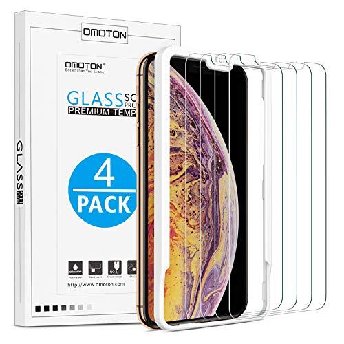 OMOTON [4 Stück] Schutzfolie für iPhone XS Max, Bildschirmschutzfolie mit Positionierhilfe, Anti- Kratzer, Bläschenfrei,9H Härte, HD-Klar, [2.5D R&e Kante]