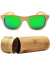 Lunettes de soleil polarisées en bois pour les hommes et les femmes UV bloquant Vintage lunettes de soleil ovales lunettes de soleil de lunettes de soleil de mode de mode femmes hommes(Noir) Iquwhm