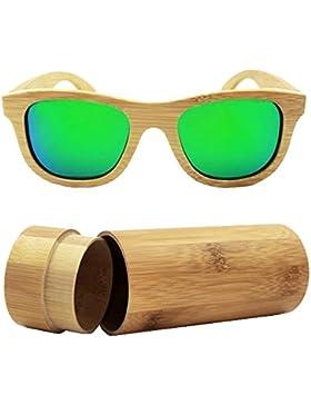 isunhot) madera de bambú gafas de sol polarizadas con protección UV lente en Vintage Wayfarer estilo–auténtico...