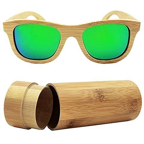 Lunette De Soleil Verte - isunhot/Bambou Vintage Style Wayfarer Lunettes de soleil