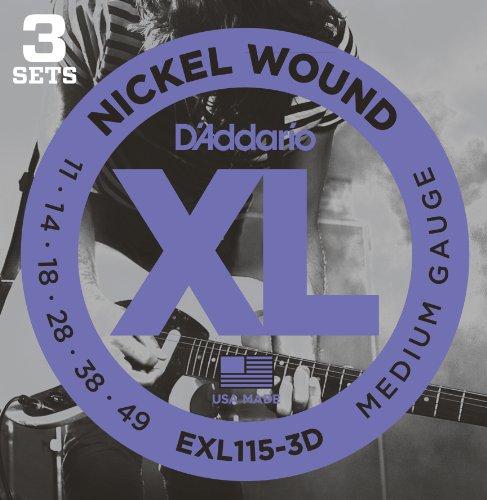 D'Addario EXL115-3D - Juego de cuerdas para guitarra eléctrica de acero y níquel, .011 - .049