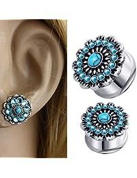Túneles Tapones para la oreja Un par de piedras preciosas azules Pendientes de cristal Herramienta de
