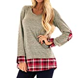 7b9ec65898 MA87 Women Casual Plaid Printing Patchwork Shirt Long Sleeve Tunic Tops  Blouse